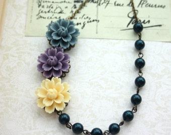 Trio of Large Chrysanthemum, Grey Blue, Ivory, Purple, Dark Montana Blue Pearls Vintage Style Necklace. Bridesmaid Gifts. Three Flowers