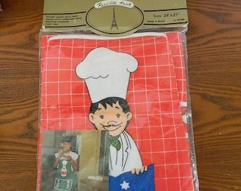 Printed Cotton Terry Cloth Apron - Parisian Prints - Rubberized Back - Made in Brazil - Original Unopened Package