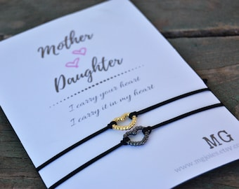 Matching mother daughter bracelet Mothers day gift Best friend gift Bridesmaid bracelet Silver bracelet Love bracelet Mother's day hero