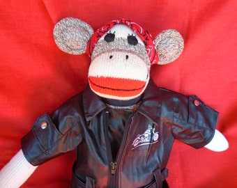 King Of The Road Motorcycle /Biker Sock Monkey Doll