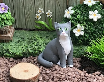 Fairy Garden Grey Cat Polymer Clay Sculpture