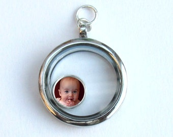 Floating Locket Photo Charm, Customized Photo Floating Charm, Photo Jewelry