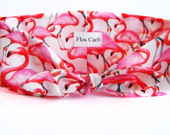 Flamingo Headband - Pink and White Bird Animal Headband - Hair wrap - Bandana - Women Headbands
