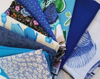 Blauer Stoff-Fetzen - Quilt Schrott Bundle - Handwerk Stoffreste #26