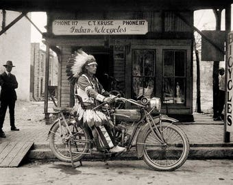 Vintage photo Indian motorcycle native american chief gift for biker motorcycle lover enthusiast antique photography print 1920s