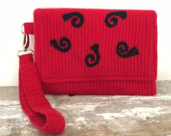 Cherry Red Felted Clutch Black design Handmade Purse