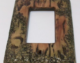 Bark of a tree light switch cover gfi or rocker switch plate