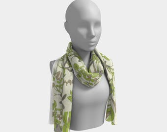 Mountain Flora Cream and Olive Scarf