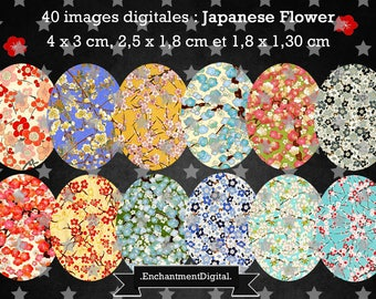 digital images * flower of the Japan * cherry blossom collage digital scrapbooking cabochon jewel