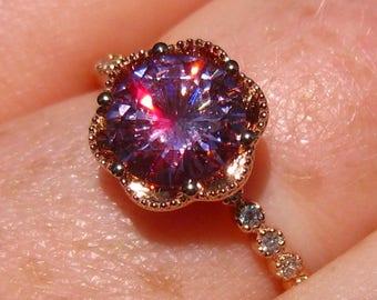 Pink Moissanite Engagement Ring, Peony Rose Gold Engagement Ring, Stacking Ring
