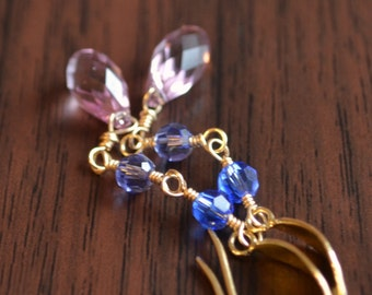 Crystal Earrings, Lavender Sapphire Periwinkle Blue, Swarovski Beads, Hammered Bronze Earwires, Dangle, Wire Wrapped Gold Jewelry