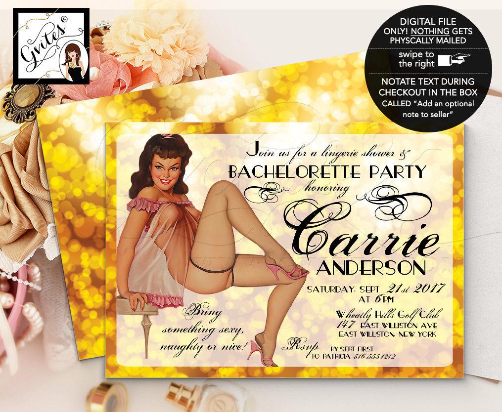 Gold Vintage Bridal Shower Invitation, Gold Pin Up Lingerie Shower ...