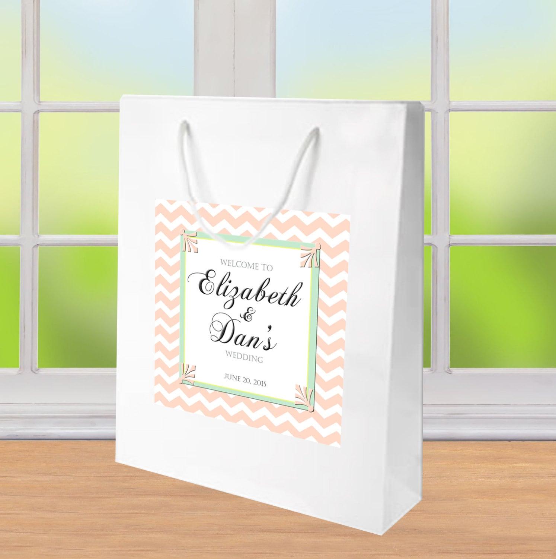10 chevron Welcome Bag for Wedding or Bat Mitzvah Sweet 16.