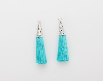 Mint Thread Lace Tassel (Large) Pendant Polished Rhodium-Plated -  2Pieces [T0018-PRMT]