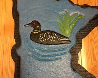 Concrete Mold  Plain State of  Minnesota stepping stone mold with Loon for decoration