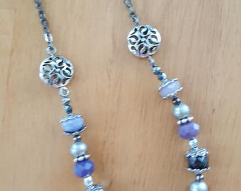 Lavender and Silver Vintage Style Necklace