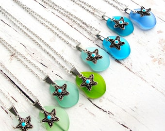 Sea Glass Jewelry-Sea Glass Necklaces Women-Sea Glass Necklace-Mothers Day Gift-Graduation Gift Her-Blue Sea Glass Necklace-Green Sea Glass