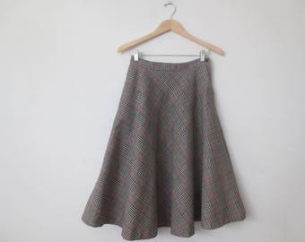 Vintage '70s Black, White & Red Glen Plaid Midi Length Full Sweep Skirt, Small 27 Inch Waist