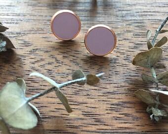 Lavender & Copper Clay Studs