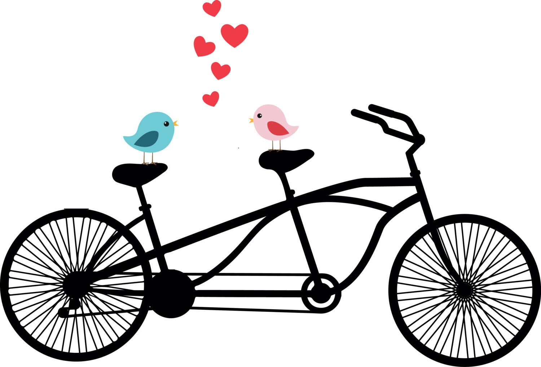 Tandem bicycle clipart love birds wedding invitation zoom stopboris Images