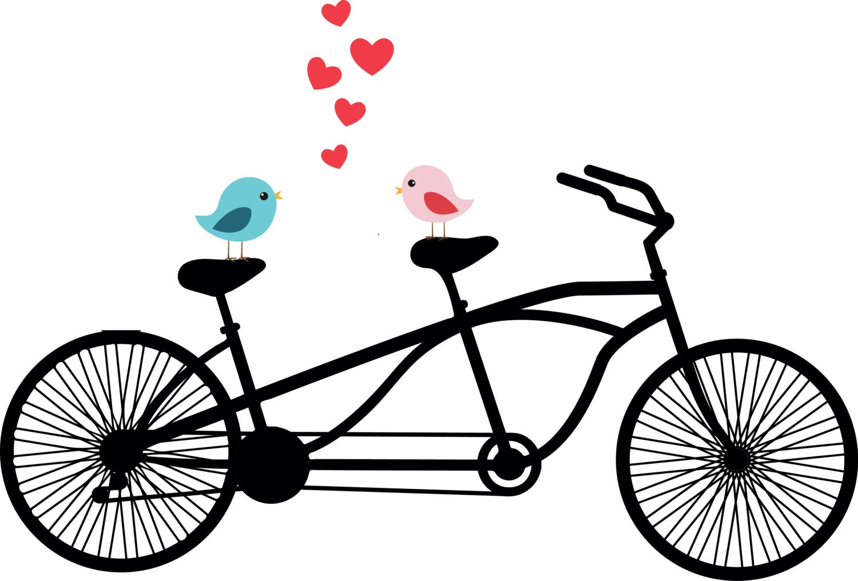 Tandem Bicycle Clipart Love birds Wedding invitation