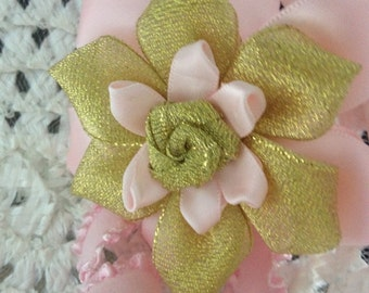 Pink and gold baby headband, cake smash headband, birthday headband, pink baby headband, gold baby headband, one year old headband, flower