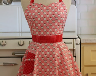 Vintage Inspired Apron Retro Cats on Pink - BELLA