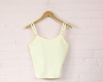 90s Pastel Yellow Belly Top with Silver Hardware · 90s Pastel Belly Top · 90s Belly Shirt · Metal Hardware Shirt · 90s Stretch Tank Top · L