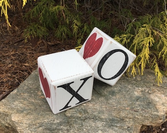 Hugs and Kisses, X's and O's, Wood, Blocks, Shelf Sitter, Valentine's, Day, Tiles, Primitive, Rustic, Dice, Large Dice, Heart, Hearts