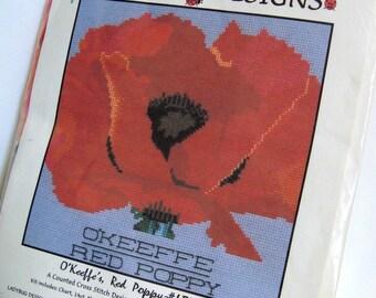 Poppy Cross Stitch Kit NIP Red Poppy after Georgia OKeeffe from Ladybug Designs