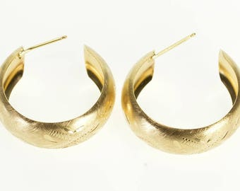14k Brushed Finish Etched Semi Hoop Post Earrings Gold