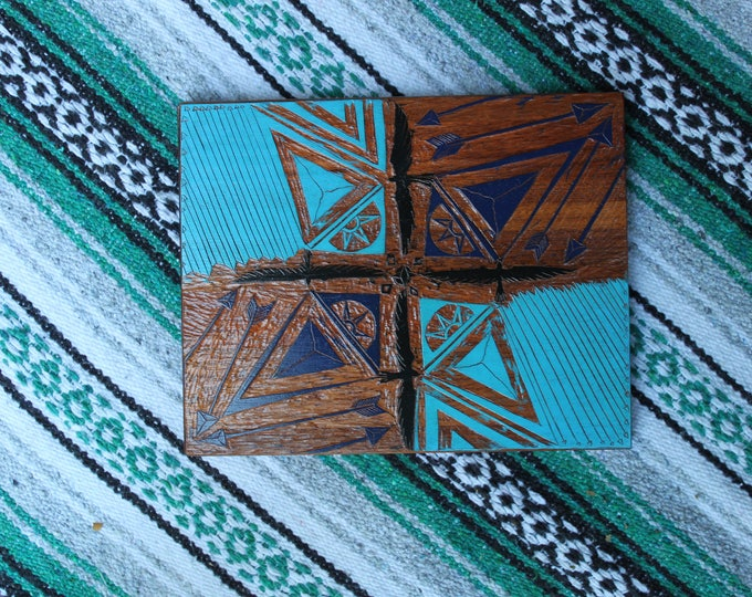 Turquoise Pattern Cutting Board