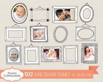 BUY 2 GET 1 FREE 26 Digital Hand Drawn Frames - doodle frame clipart - cute hand drawn frames clip art - Personal and Commercial Use
