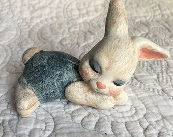 Vintage White Bunny Sleeping Ceramic Figurine - Blue Overalls - Kitsch Cute Bunny Rabbit