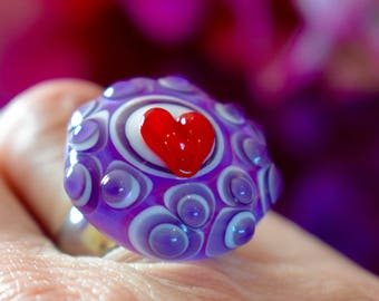 etArt,jewelry,lampwork,ring,glass,nail art ring 17 18 19,pendant,interchangeable,stainless steel,purple,red,white,heart,color