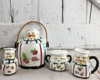 Chef cookie jar with wicker handle chef sugar creamer and shaker vintage kitchen set Weiss, Kuhnert & Co