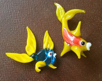 Two Vintage Blown Glass Tropical Fish