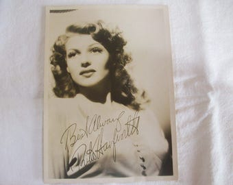 Signed Rita Hayworth 5 X 7 Sepia Print