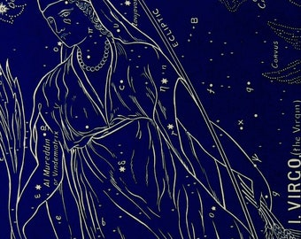 """1928.Astronomy.Antique print.Astrology.Zodiac""""The witness of the stars"""".VIRGO,the virgin.Constellations.Astronomy print.5.8x9 """",15x23 cm"""