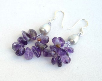 Amethyst and silver pearls earrings Rustic gemstone earrings Real amethyst earrings Purple and grey earrings Made in Israel art E1117