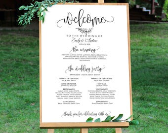 Wedding Program Sign, Ceremony Program Sign, Welcome Wedding Sign, Calligraphy, Instant Download, Editable PDF, #A045