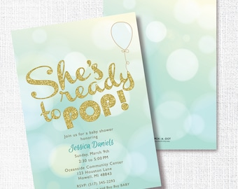 She's Ready To Pop Baby Shower invitation, Printable, Boy Shower Invite, Blue and Gold, Chic, It's a Boy, Blue Balloon
