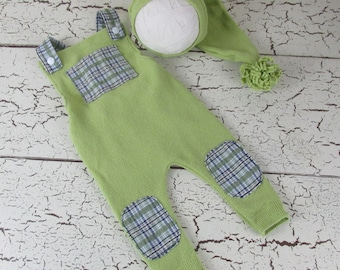 Lime and Plaid overall romper and stocking cap - handmade newborn photography prop