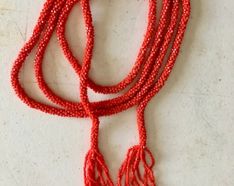 Vintage 1920's Deco Flapper Seed Beaded Rope Necklace Red 63""