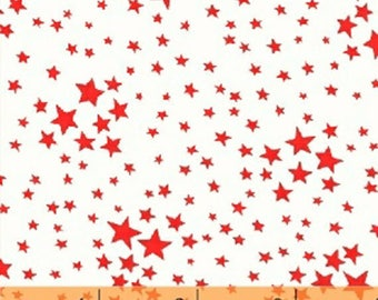 Storybook Americana - Stars in White / Red - Cotton Star Quilt Fabric - by Whistler Studios for Windham Fabrics - 42348-4 (W4234)