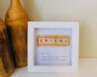 Friend definition scrabble gift frame