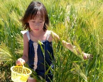 Whimsical Navy White Cotton Summer Retro Peasant Dress, Drawstring Shoulder Bow Sundress, Toddlers Girls