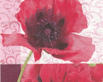 PRETTY poppy pattern 4 X 1 paper lunch size napkin 424