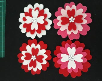 Flowers -  Red flower assortment, pack of 4 with a little Sparkle.