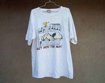 Vintage Snoopy Shirt Men's XL Music Peanuts Woodstock Get Into The Music